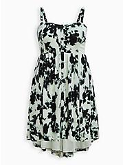 Sweetheart Hi-Low Skater Dress - Textured Stretch Rayon Tie Dye Black & Green, TIE DYE, hi-res