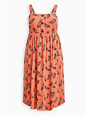 Cross Hatch Pinafore Midi Dress - Feather Coral, MULTICOLOR FEATHERS, hi-res