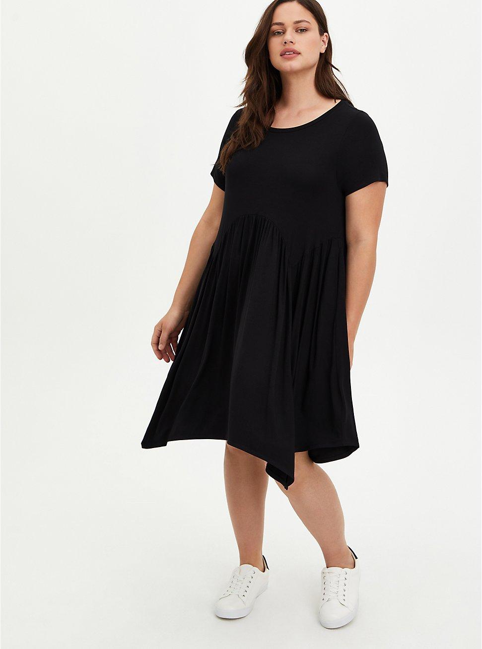 Plus Size Scoop Neck Skater Dress - Super Soft Black, DEEP BLACK, hi-res