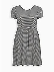 Scoop Neck Skater Dress - Super Soft Stripe Black & White , STRIPE-BLACK WHITE, hi-res