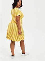 Twist Front Ribbed Skater Dress - Stripe Mustard, STRIPES - ORANGE, alternate