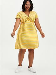 Twist Front Ribbed Skater Dress - Stripe Mustard, STRIPES - ORANGE, hi-res