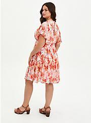 Ruffle Sleeve Skater Dress - Chiffon Floral Pink , FLORAL - PINK, alternate