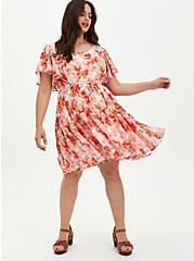 Ruffle Sleeve Skater Dress - Chiffon Floral Pink , FLORAL - PINK, hi-res