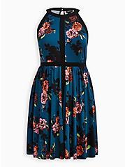Halter Skater Dress - Studio Knit Floral Blue, , hi-res