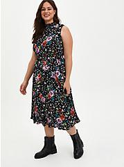 Mock Neck Skater Midi Dress - Gauze Floral Black , FLORAL - BLACK, hi-res