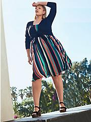 Multi Stripe Chiffon Midi Skater Dress, STRIPE - MULTI, alternate
