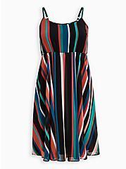 Multi Stripe Chiffon Midi Skater Dress, STRIPE - MULTI, hi-res