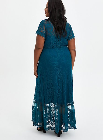 Button Front Skater Maxi Dress - Lace Blue, GULF COAST, alternate
