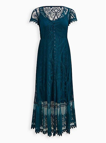 Button Front Skater Maxi Dress - Lace Blue, GULF COAST, hi-res