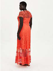 Button Front Skater Maxi Dress - Lace Coral, TEABERRY, alternate