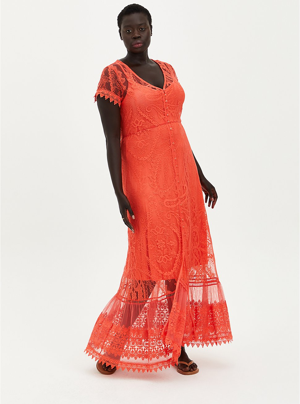 Button Front Skater Maxi Dress - Lace Coral, TEABERRY, hi-res