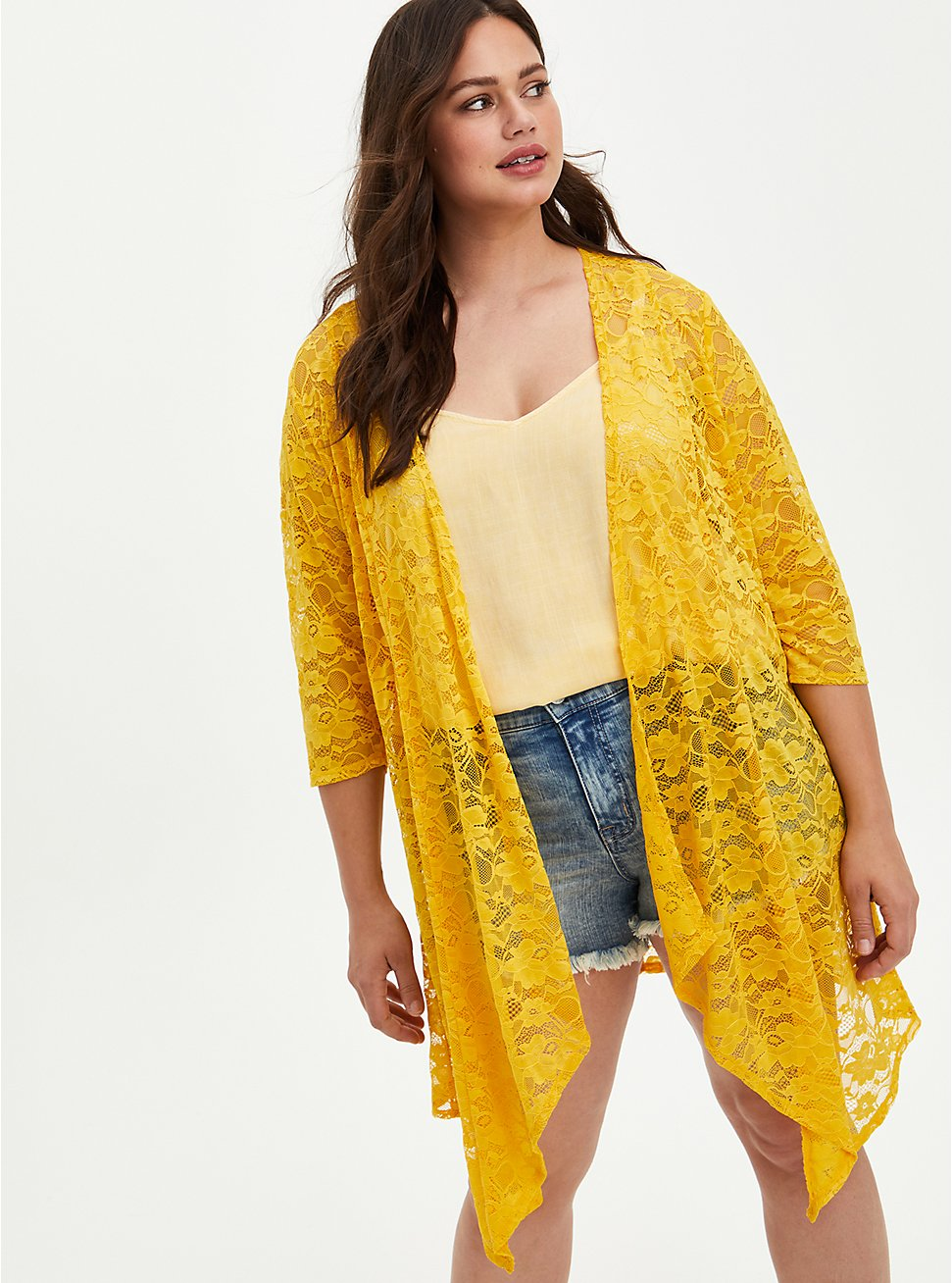Drape Front Kimono - Lace Yellow, , hi-res