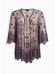 Embroidered Kimono - Mesh Grey, , hi-res