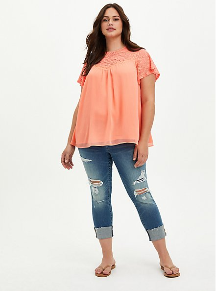 Coral Crinkle Chiffon Lace Blouse, FUSION CORAL, alternate