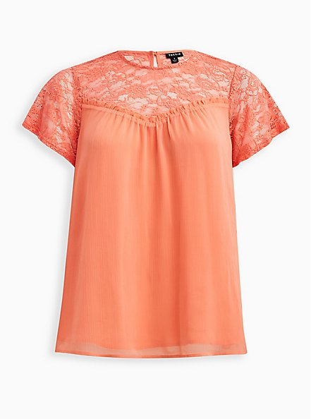 Coral Crinkle Chiffon Lace Blouse, FUSION CORAL, hi-res