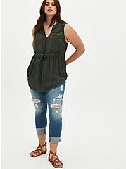 Emma - Challis Olive Mineral Wash Babydoll Tunic, DEEP DEPTHS, alternate