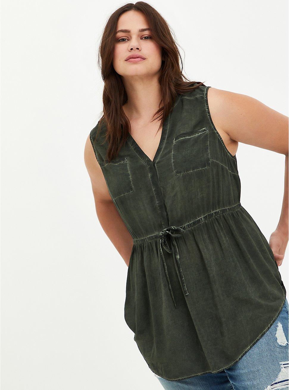 Emma - Challis Olive Mineral Wash Babydoll Tunic, DEEP DEPTHS, hi-res