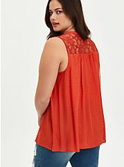 Swiss Dot Crochet Top - Orange, ORANGE, alternate