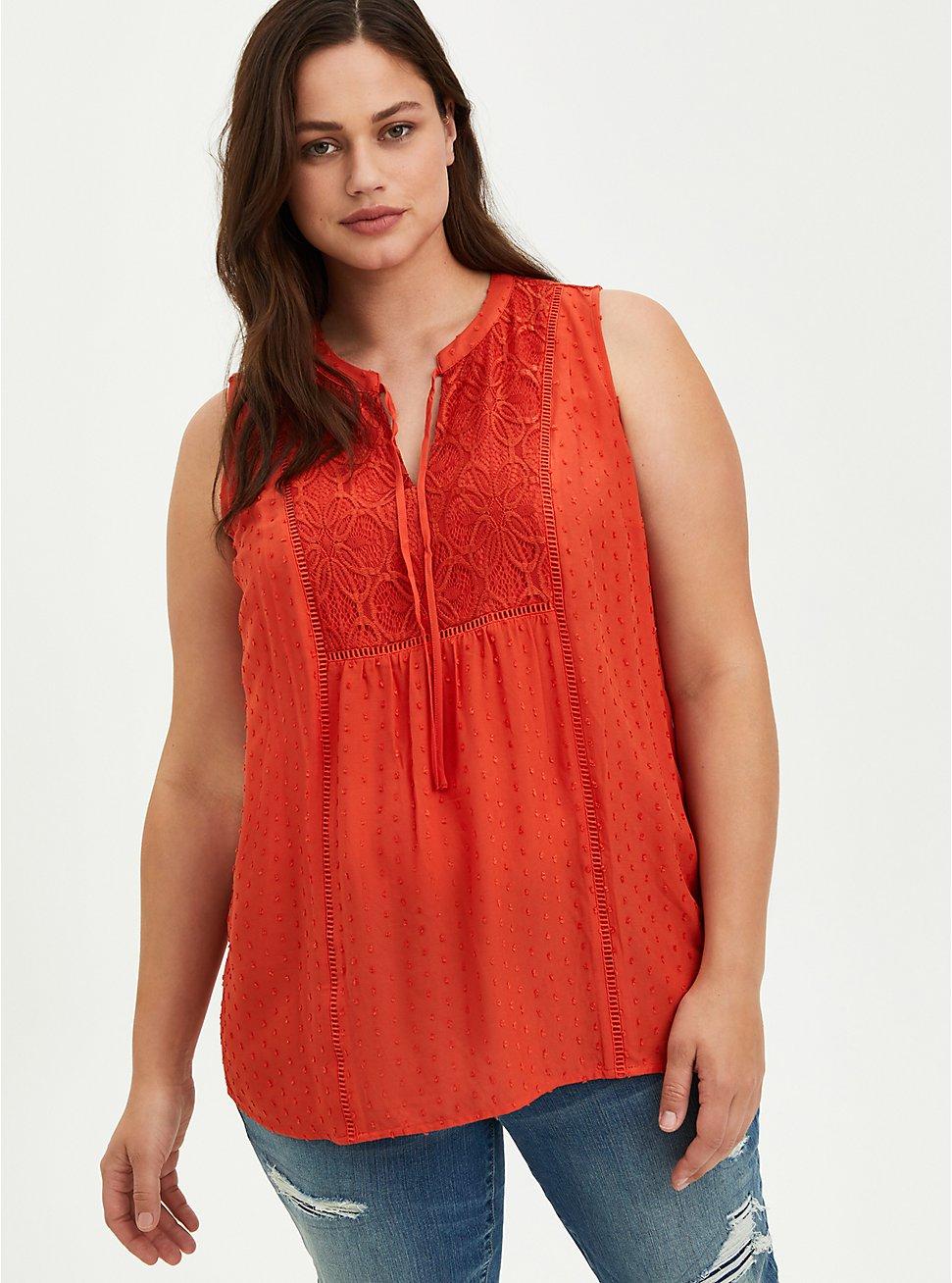 Swiss Dot Crochet Top - Orange, ORANGE, hi-res