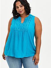 Swiss Dot Crochet Top - Teal , BLUE, hi-res