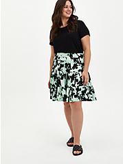 Black & Green Tie Dye Super Soft Tiered Skater Skirt, TIE DYE, alternate