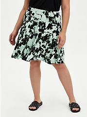 Black & Green Tie Dye Super Soft Tiered Skater Skirt, TIE DYE, hi-res