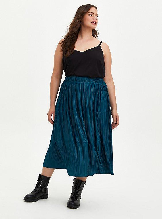Pleated Knit Tea Length Skirt - Blue, GULF COAST, hi-res