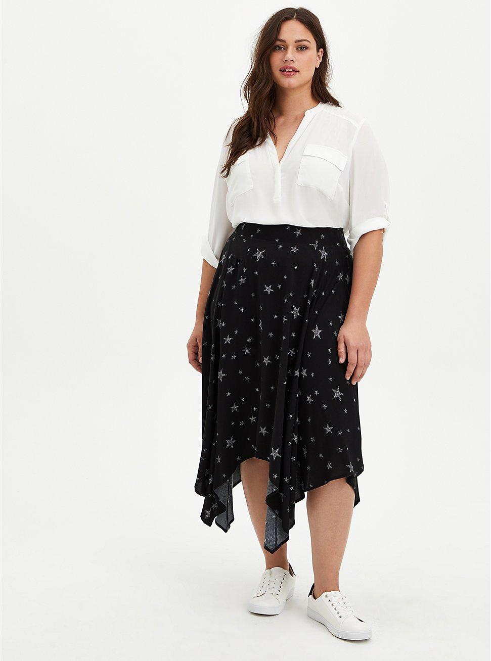 Handkerchief Midi Skirt - Challis Star Black, TIGER DYE, hi-res