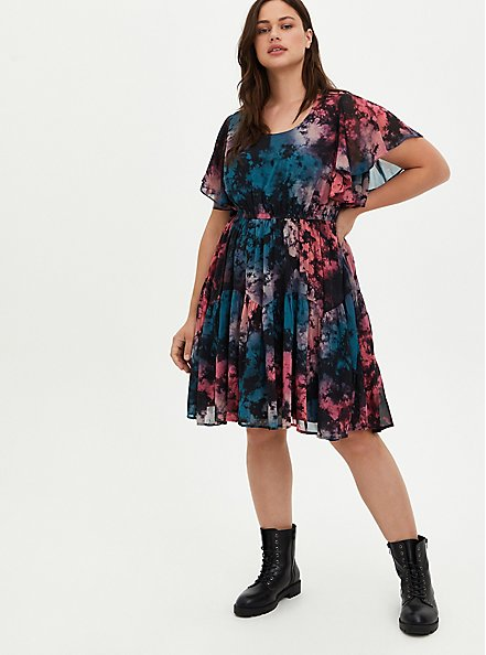 Ruffle Sleeve Skater Dress - Chiffon Tie Dye, TIE DYE, alternate