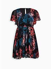 Ruffle Sleeve Skater Dress - Chiffon Tie Dye, TIE DYE, hi-res