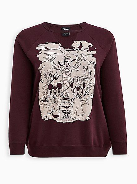Disney Mickey & Friends Cut-Out Halloween Sweatshirt, BURGUNDY, hi-res