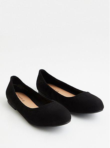 Plus Size Black Faux Suede Scrunch Ballet Flat, BLACK, alternate