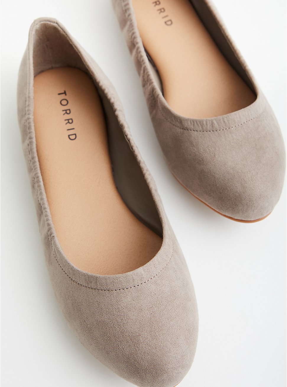 Taupe Faux Suede Scrunch Ballet Flat (WW), TAUPE, hi-res