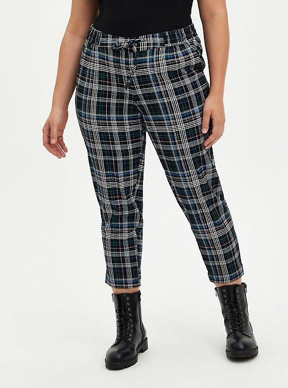 Drawcord Trouser - Stretch Challis Plaid , , hi-res