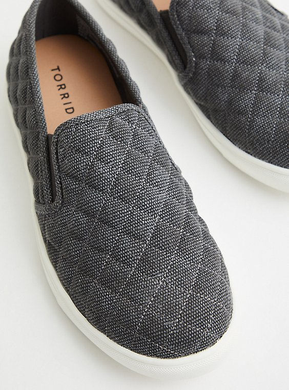 Quilted Canvas Slip-On Sneaker - Grey (WW), GREY, hi-res