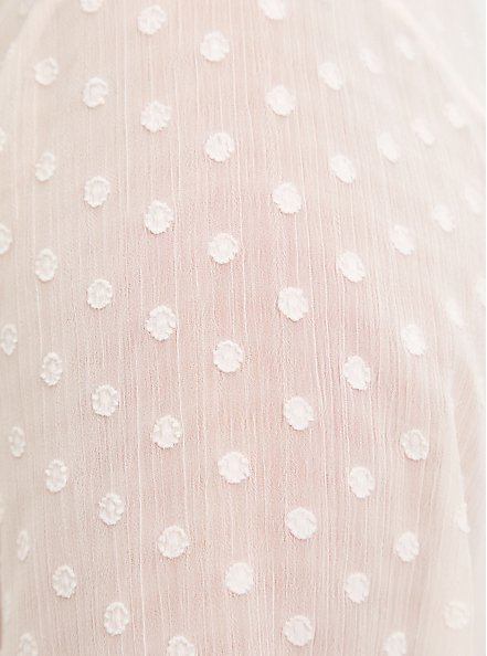 Clip Dot Button Front Blouse - Pink, PEARL, alternate