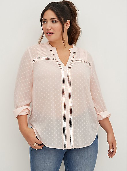 Clip Dot Button Front Blouse - Pink, PEARL, hi-res