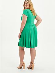 Disney Tinkerbell Shirred Skater Dress, GREEN, alternate