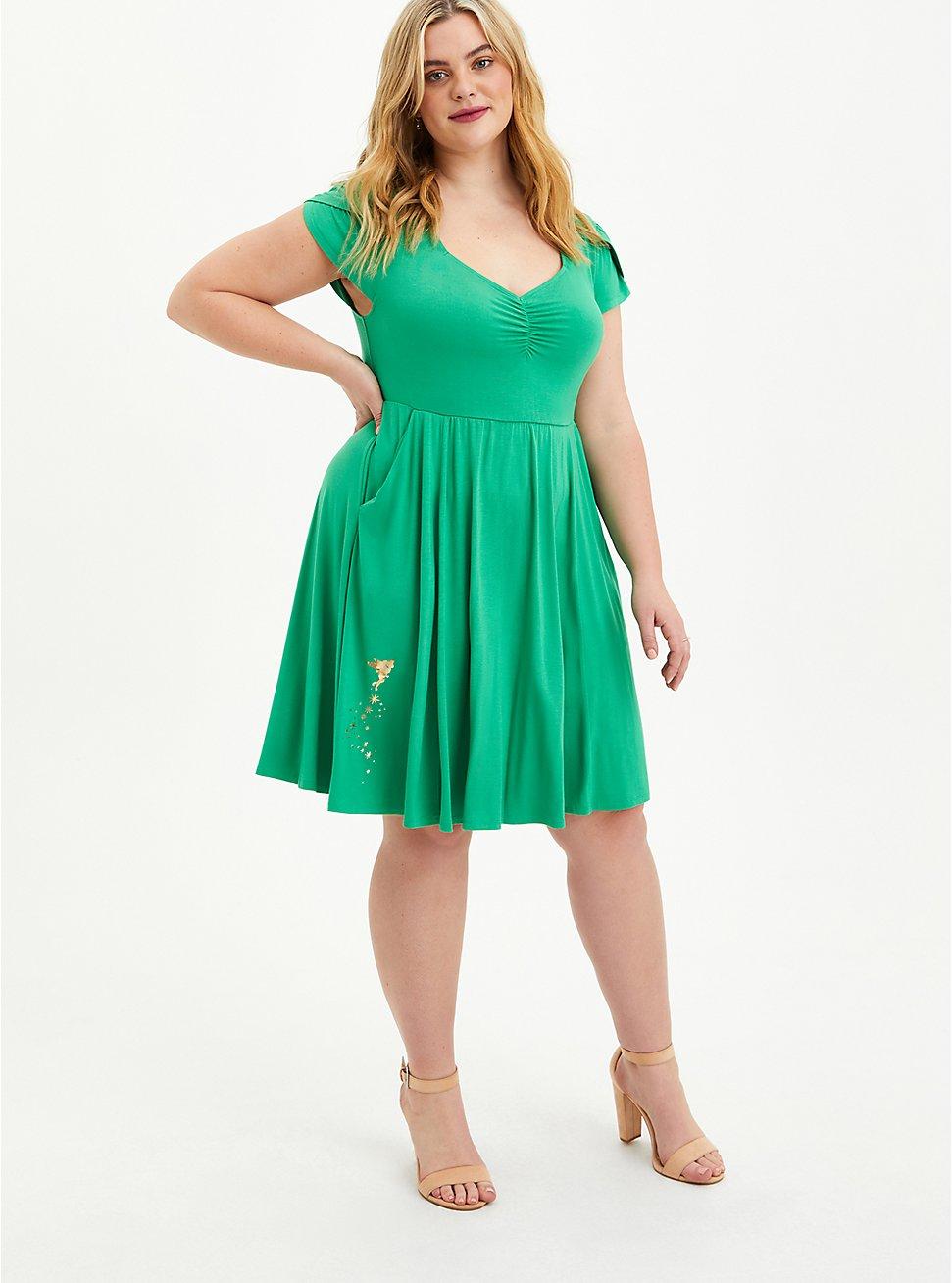 Disney Tinkerbell Shirred Skater Dress, GREEN, hi-res