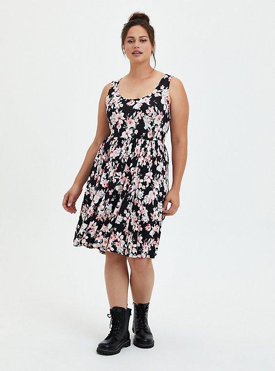 Disney Aristocats Skater Dress, FLORAL - BLACK, hi-res