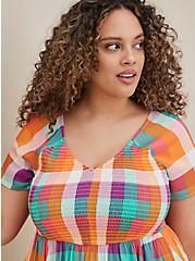 Multi-Plaid Challis Smocked Skater Dress, PLAID - MULTI, alternate