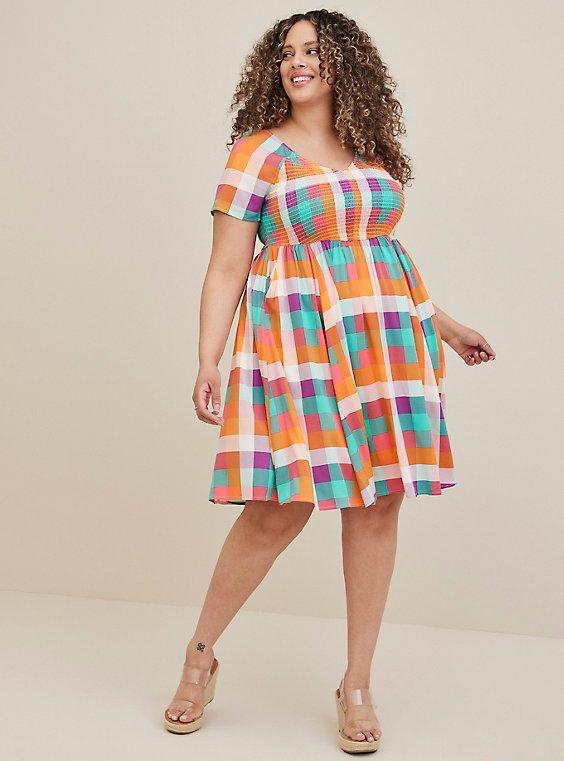 Multi-Plaid Challis Smocked Skater Dress, , hi-res