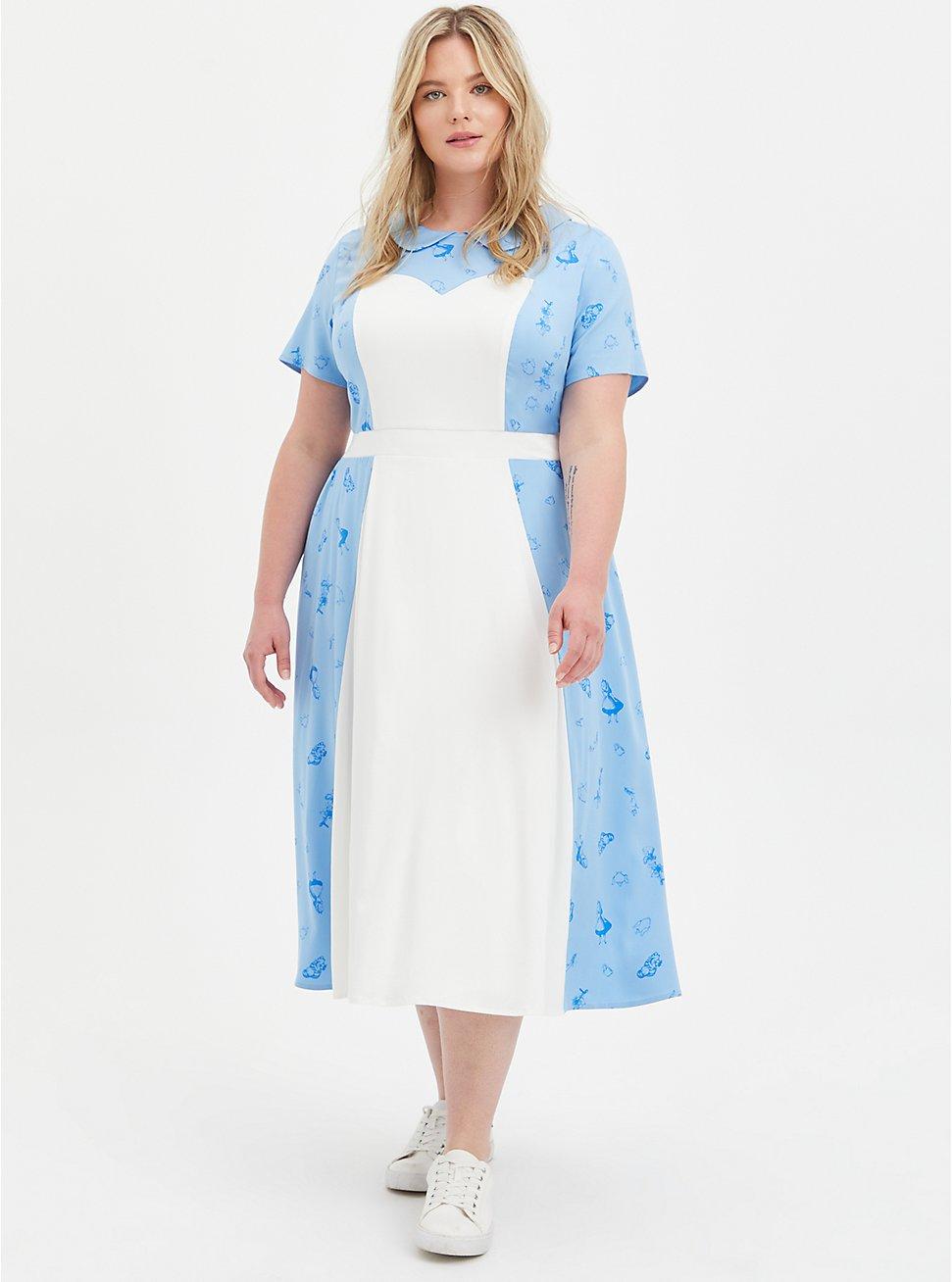Disney Alice In Wonderland Alice Midi Dress, BLUE  WHITE, hi-res