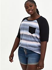 Black Stripe 3/4 Sleeve Raglan, OTHER PRINTS, hi-res