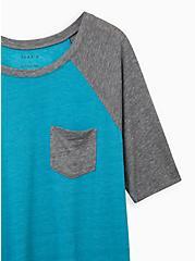 Teal & Grey 3/4 Sleeve Raglan, TEAL, alternate