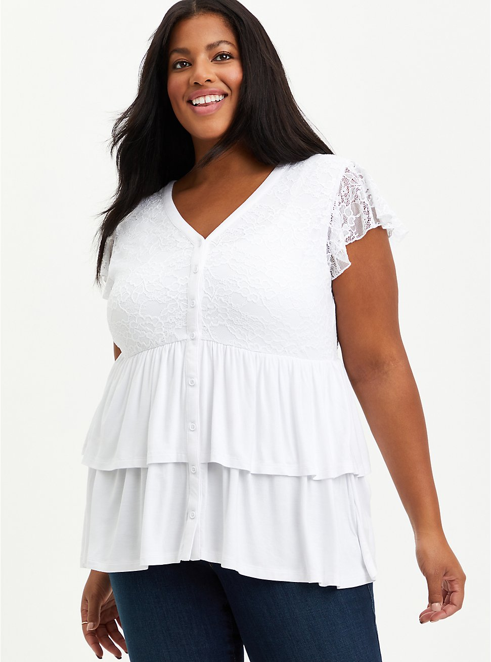 Babydoll Top - Super Soft Lace White, BRIGHT WHITE, hi-res