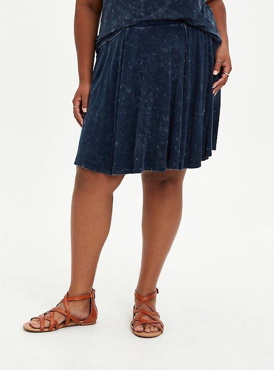 Blue Washed Super Soft Skater Skirt, TIE DYE-BLUE, hi-res
