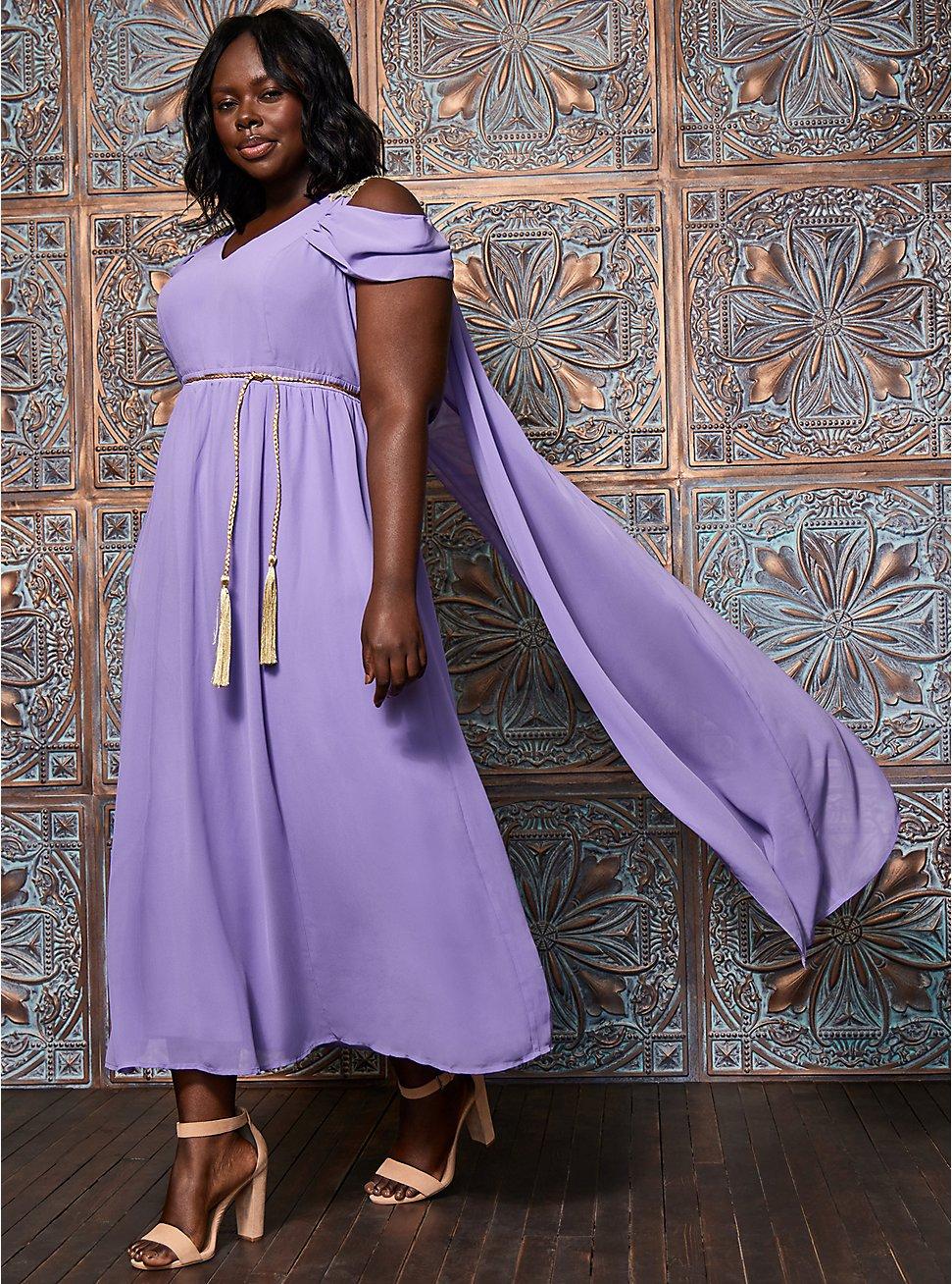 Goddess Queen Caped Costume, PURPLE, hi-res