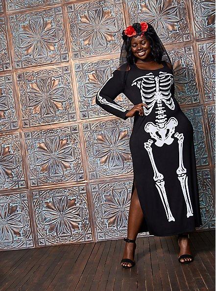 Sexy Skeleton Cold Shoulder Maxi Costume, BLACK-WHITE, alternate